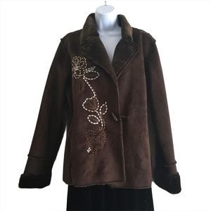 CHADWICKS Faux Fur Embroidered Coat